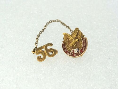 Vtg 1956 10K Fraternal Order of Eagles Grand Aerie Ritual Champion Pins AA16