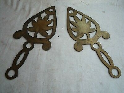 VINTAGE / ANTIQUE  BRASS FLAT IRON TRIVETS   GENUINE OLD PATINA / AGE