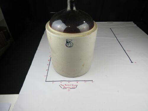 Antique 5 gallon Western Stoneware No. 5  Crock Jug Moonshine  Whiskey Solid