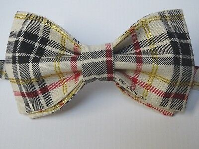 NEW Handmade Christmas Plaid Bow tie Khaki Glitter Tied Adjustable Holiday Tie