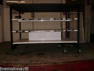 Display Black White Metal Retail Rack Table Shelving Unit