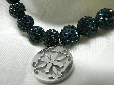 Extra Bead (22) RUSTIC CUFF Dark Blue with Silver Logo includes bag