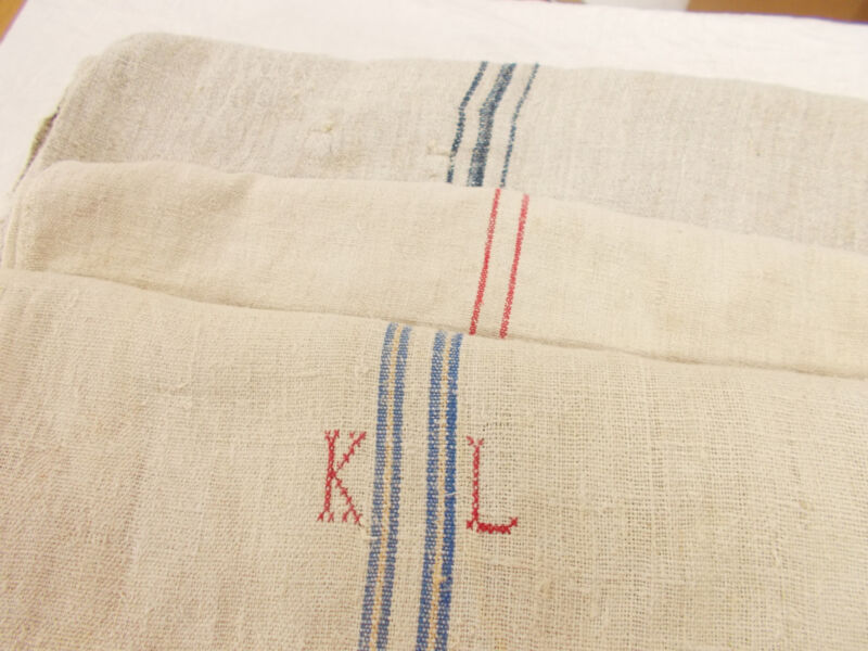 LOT of 3 Vtg Antique BLUE CREAM RED STRIPE HEMP LINEN FRENCH FEEDSACK GRAIN BAGS