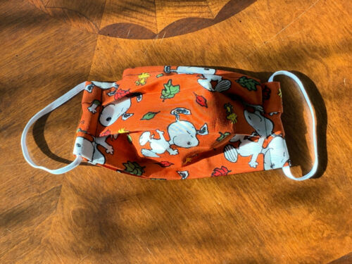 Snoopy Fall Leaves Dark Orange Face Mask Filter Pocket Nose Wire 100% Cotton
