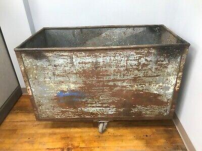 49l Vintage Industrial Steel Push Cart Rolling Utility Bin Metal Box Can Ship