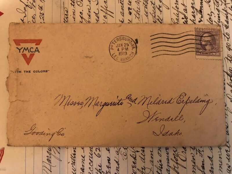 WW1 1919 Original Rare Letter Home From Soldier to Sisters YMCA