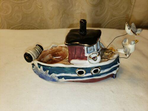 Blue Sky Clayworks Fishing Boat Tea Light Holder 2004 Heather Goldminc Ceramics