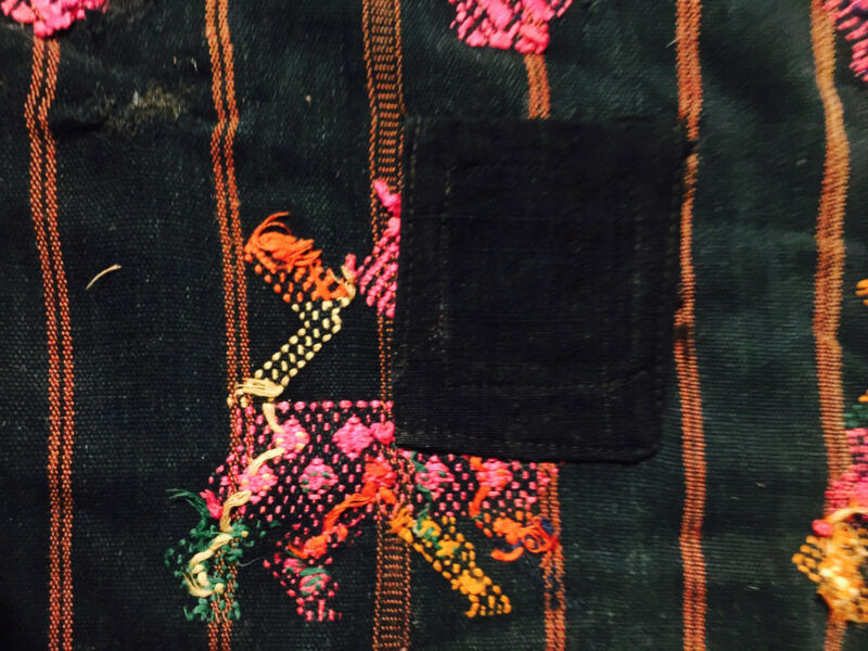 "18  x 22"" India  Embroidered Material on Black Background Vintage  Handmade"