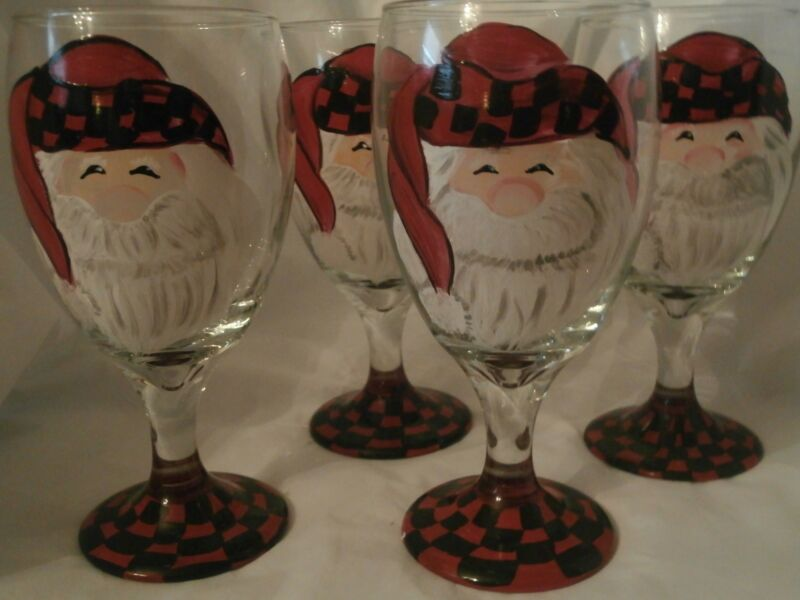 HAND PAINTED SANTA ICE TEA/ WATER GOBLETS RED BLACK WHITE  / SET OF 4-