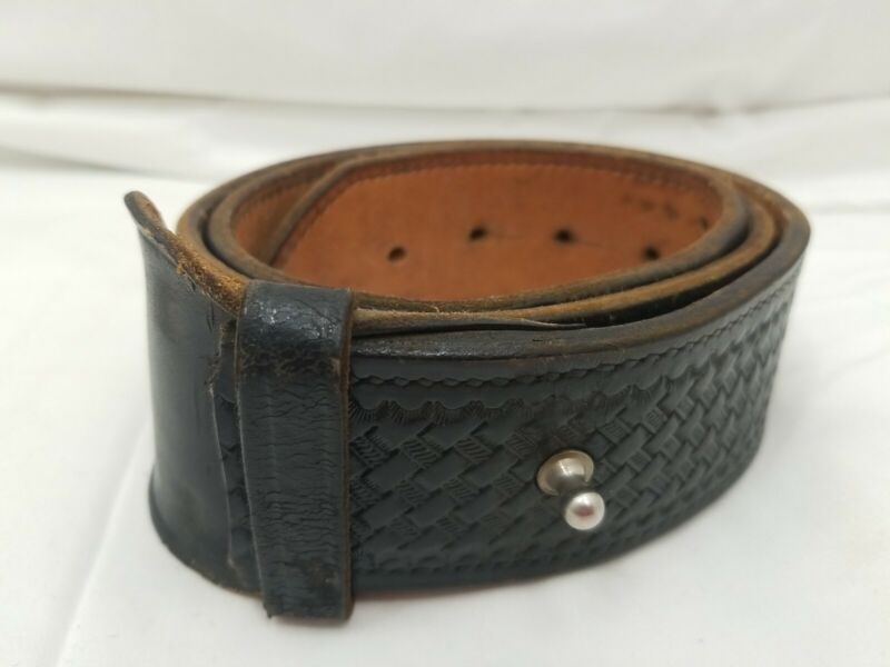 Don Hume Black Leather Basketweave Duty belt Size 36 w/ Extra Hole Punched H5