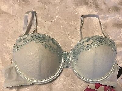NWT GINA VIOR 5442 Embroidered Mesh Lined Contour Underwire Bra Lt. Green ~ 34B (Embroidered Mesh Contour Bra)