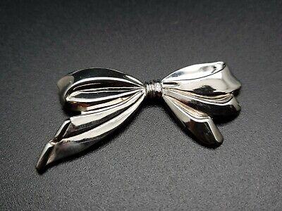 STERLING SILVER .925 Ribbon Bow Womens Brooch Lapel Jacket Blazer Pin Jewelry Sterling Silver Womens Brooch