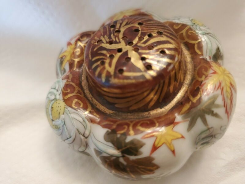 Antique Victorian Hand Painted Porcelain Melon Shaped Salt Shaker