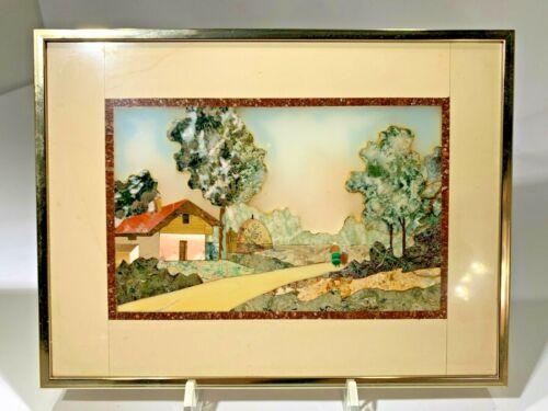 """Vintage Superb G. Ugulini Stone Mosaic Pietra Dura """"Umbria"""" Picture"""