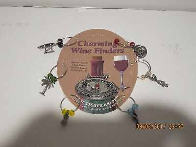 CHARMING WINE FINDERS-SET OF 7, 6 GLASS MARKERS & BOTTLE MARKER, FREE SHIP NEW!!