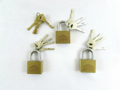 ISEO Hardened Steel Padlock Set (3) Individually Keyed w/Master Key Set
