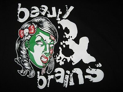 Beauty & Brains Hot Zombie Girl Black V-Neck T-Shirt Women's Sz S District Made
