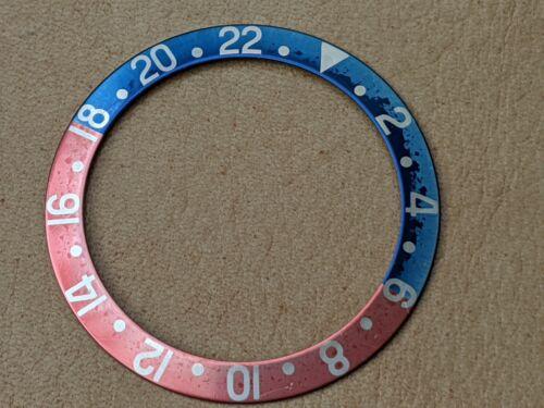 Vintage Rolex GMT 1675 Fat Font Uniquely Faded Yale Blue/Pinkish Bezel Insert
