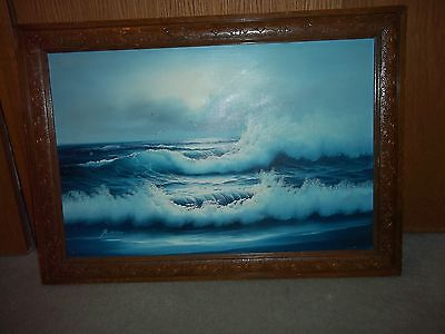 OCEAN - FOGGY DAY - LARGE OIL PAINTING- BEAUTIFUL