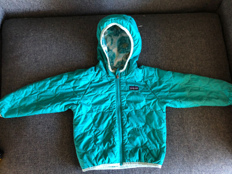 Kids Patagonia Teal / Flowers Reversible Puffy  Hooded Jacket 2T 3T Excellent