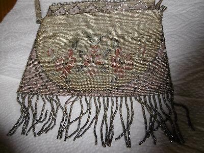 Antike Jugendstil Glasperlen Stickerei Perlentasche Art Nouveau