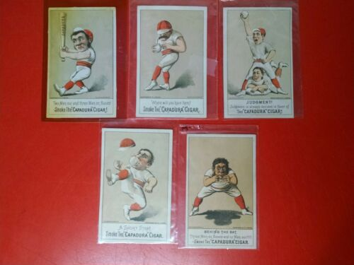VICTORIAN TRADE CARDS CAPADURA CIGAR COMPLETE SET FIVE CARDS NY BASEBALL 1880
