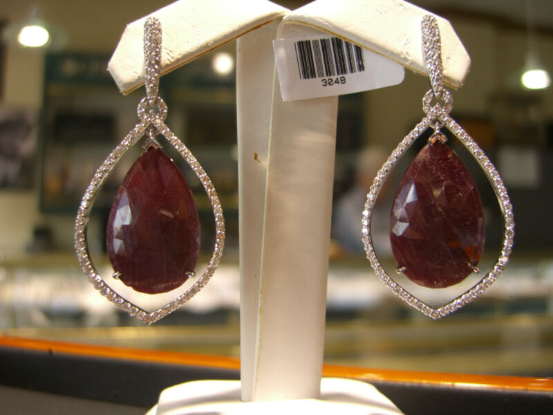 Fine Ruby & Diamond Womens Earrings 14 Karat White Gold New 17.00 Carats Total!!