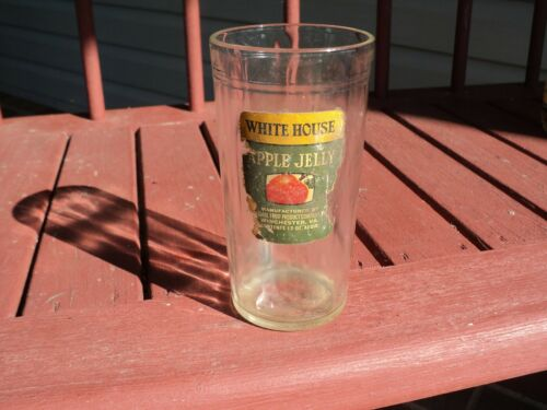 RARE - - White House vinegar -  APPLE JELLY GLASS - WITH LABEL