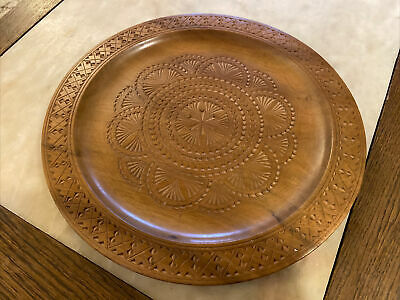 Vintage Beautiful Hardwood Round Tray Far East Malaysian Indonesian 313mm D
