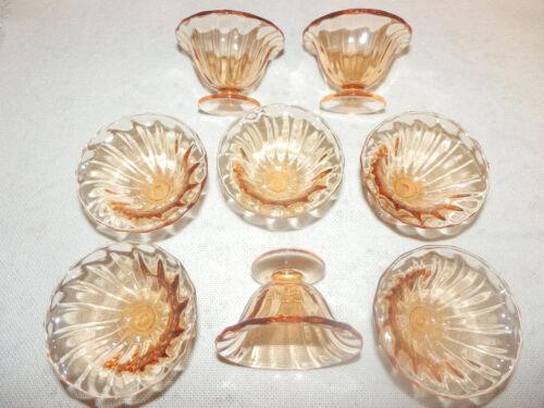 Vintage Fostoria Fairfax Amber Footed Individual Nut Cups or Salt Dips Set of 8.