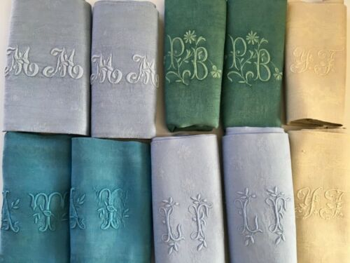 Lovely Multi Colored French Linen Damask Napkins Monogramed S/10 Dinner Size