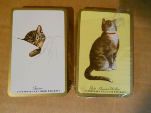 New Vintage Chesapeak & Ohio Railway Set of Playing Cards, Chessie & Peake, Box