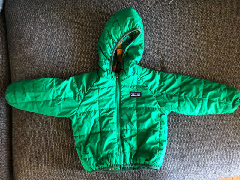 Kids Patagonia Green Yellow Reversible Puffy Nylon Hooded Jacket 18-24 mths XLNT