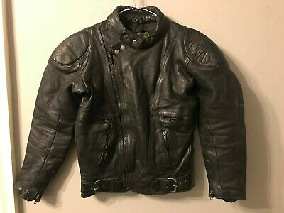 VINTAGE DISTRESSED NICE LONDON BLACK LEATHER JACKET SIZE 36