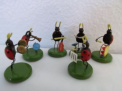 Vintage German Erzgebirge Ladybug Music Band With Instruments Made In Germany