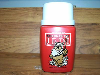 1983 STAR WARS RETURN OF THE JEDI THERMOS WITH E WALKS ON FRONT 8 OZ SIZE
