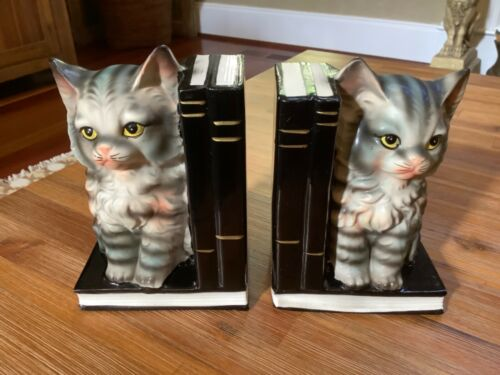 Vintage Mid Century Norleans ~ Cat or Kitten Ceramic Book Ends ~ Made in Japan