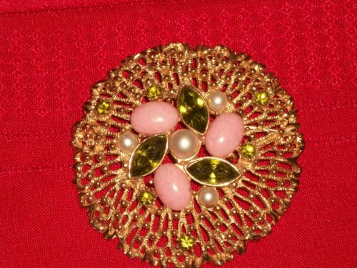 1960s Sarah Coventry Goldtone Brooch Pin Green Rhinestones Pink Cabochons Pearls