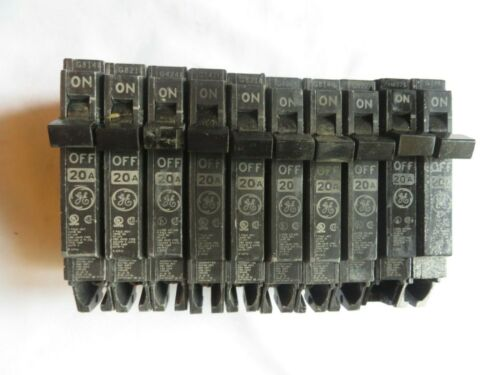 Circuit Breaker GE General Electric 20 Amp 1 Pole Single TESTED Lot of 10