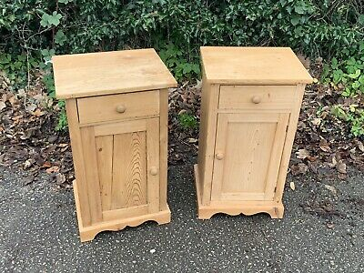 Pair Of Antique Rustic Reclaimed Pine Bedside Cabinets Free Delivery