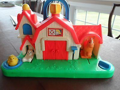 Vintage 1987 Fisher Price Farm Animal Noises Toy Horse Dog Cow Sound Activity