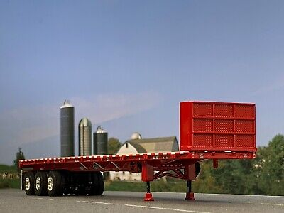1/64 DCP RED 53' WILSON ROAD BRUTE TRI AXLE FLATBED TRAILER W/ BULKHEAD 1
