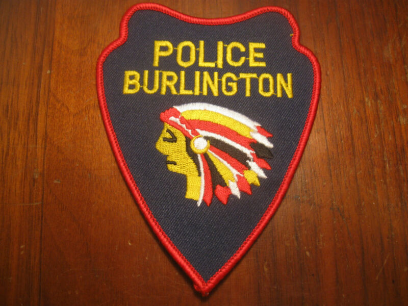 BURLINGTON IOWA POLICE PATCH( RED BORDER VERSION WITH NO IA & INDIAN CHIEF)