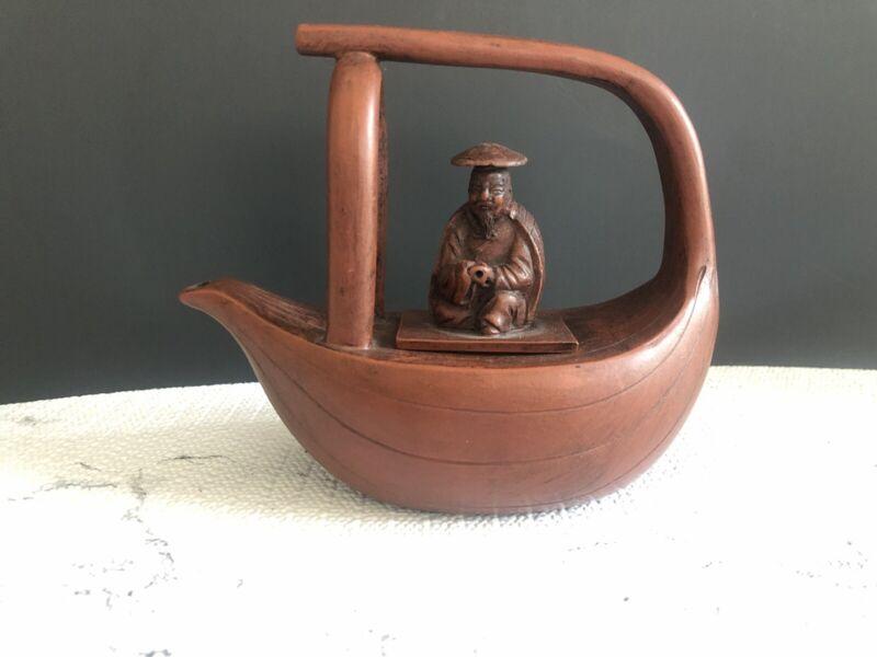 Yixing Like Fisherman Boat Teapot-PLEASE READ