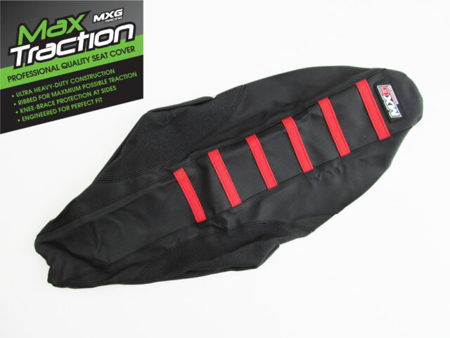 HONDA CRF450 CRF450R 09-12 RIBBED GRIPPER SEAT COVER BLACK WITH RED RIBS STRIPES