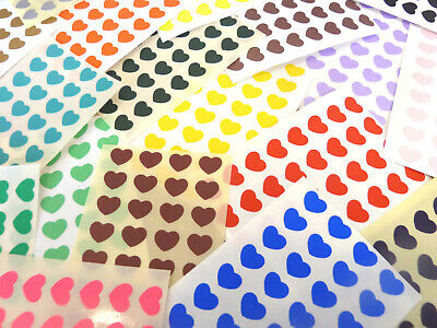Small 10x8mm Heart Stickers, Self-Adhesive Coloured Hearts, Labels for Craft Coloured Self Adhesive Labels