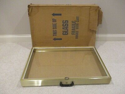 Glass And Gold Aluminum Allstate Display Showcase 34 X 22 X3 Jewelry Guns Coin