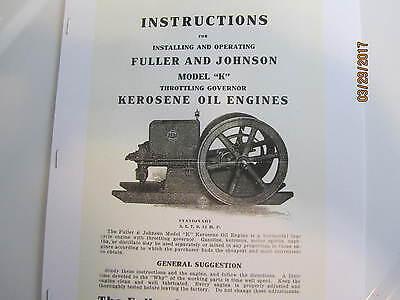 Fuller Johnson Model K Gas Engine Installing Operating Instructions Manual