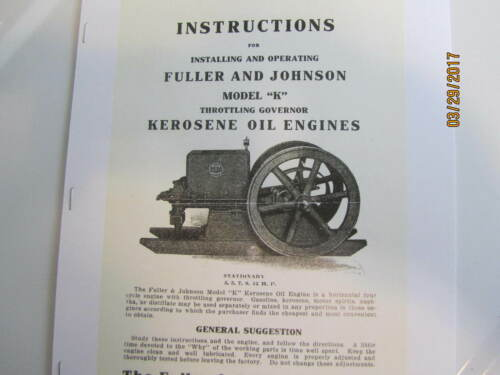 Fuller & Johnson Model K Gas Engine Installing & Operating  Instructions Manual