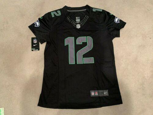 Women Seahawks #12 Fan Stitched Black Impact Limited Jersey